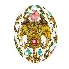 Traditional Thai Style Painting Ornament (Oval Filigree)