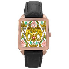 Traditional Thai Style Painting Rose Gold Leather Watch