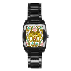 Traditional Thai Style Painting Stainless Steel Barrel Watch