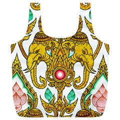 Traditional Thai Style Painting Full Print Recycle Bags (L)