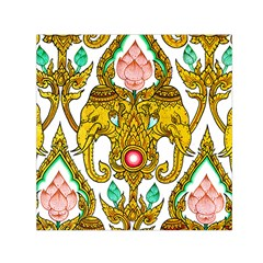 Traditional Thai Style Painting Small Satin Scarf (Square)