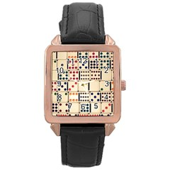 Old Domino Stones Rose Gold Leather Watch