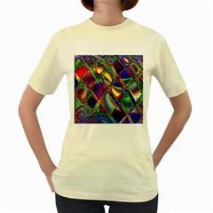 Abstract Digital Art Women s Yellow T Shirt