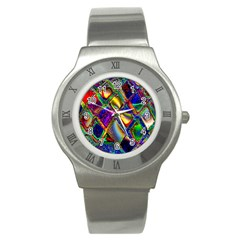 Abstract Digital Art Stainless Steel Watch