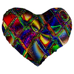 Abstract Digital Art Large 19  Premium Flano Heart Shape Cushions