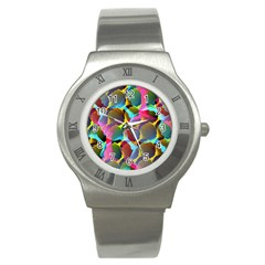 3d Pattern Mix Stainless Steel Watch