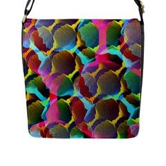 3d Pattern Mix Flap Messenger Bag (L)