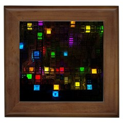 Abstract 3d Cg Digital Art Colors Cubes Square Shapes Pattern Dark Framed Tiles