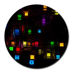 Abstract 3d Cg Digital Art Colors Cubes Square Shapes Pattern Dark Round Mousepads