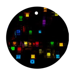 Abstract 3d Cg Digital Art Colors Cubes Square Shapes Pattern Dark Ornament (round)