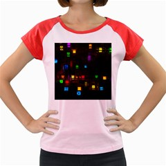 Abstract 3d Cg Digital Art Colors Cubes Square Shapes Pattern Dark Women s Cap Sleeve T-Shirt