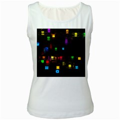 Abstract 3d Cg Digital Art Colors Cubes Square Shapes Pattern Dark Women s White Tank Top