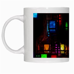 Abstract 3d Cg Digital Art Colors Cubes Square Shapes Pattern Dark White Mugs