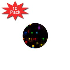 Abstract 3d Cg Digital Art Colors Cubes Square Shapes Pattern Dark 1  Mini Magnet (10 pack)
