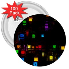 Abstract 3d Cg Digital Art Colors Cubes Square Shapes Pattern Dark 3  Buttons (100 pack)