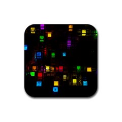 Abstract 3d Cg Digital Art Colors Cubes Square Shapes Pattern Dark Rubber Square Coaster (4 pack)