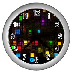 Abstract 3d Cg Digital Art Colors Cubes Square Shapes Pattern Dark Wall Clocks (Silver)