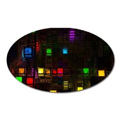Abstract 3d Cg Digital Art Colors Cubes Square Shapes Pattern Dark Oval Magnet