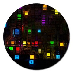 Abstract 3d Cg Digital Art Colors Cubes Square Shapes Pattern Dark Magnet 5  (round)