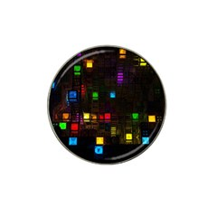 Abstract 3d Cg Digital Art Colors Cubes Square Shapes Pattern Dark Hat Clip Ball Marker (4 pack)