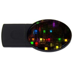 Abstract 3d Cg Digital Art Colors Cubes Square Shapes Pattern Dark Usb Flash Drive Oval (4 Gb)