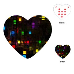Abstract 3d Cg Digital Art Colors Cubes Square Shapes Pattern Dark Playing Cards (heart)