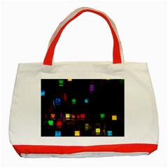 Abstract 3d Cg Digital Art Colors Cubes Square Shapes Pattern Dark Classic Tote Bag (Red)