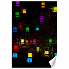 Abstract 3d Cg Digital Art Colors Cubes Square Shapes Pattern Dark Canvas 20  x 30