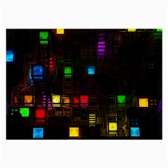 Abstract 3d Cg Digital Art Colors Cubes Square Shapes Pattern Dark Large Glasses Cloth (2-Side)