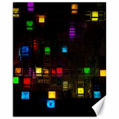 Abstract 3d Cg Digital Art Colors Cubes Square Shapes Pattern Dark Canvas 11  x 14