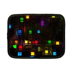 Abstract 3d Cg Digital Art Colors Cubes Square Shapes Pattern Dark Netbook Case (Small)