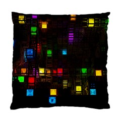 Abstract 3d Cg Digital Art Colors Cubes Square Shapes Pattern Dark Standard Cushion Case (Two Sides)