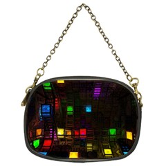 Abstract 3d Cg Digital Art Colors Cubes Square Shapes Pattern Dark Chain Purses (two Sides)