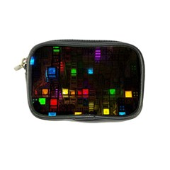 Abstract 3d Cg Digital Art Colors Cubes Square Shapes Pattern Dark Coin Purse