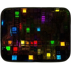 Abstract 3d Cg Digital Art Colors Cubes Square Shapes Pattern Dark Double Sided Fleece Blanket (Mini)