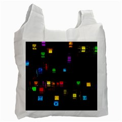 Abstract 3d Cg Digital Art Colors Cubes Square Shapes Pattern Dark Recycle Bag (two Side)