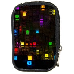 Abstract 3d Cg Digital Art Colors Cubes Square Shapes Pattern Dark Compact Camera Cases