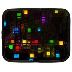 Abstract 3d Cg Digital Art Colors Cubes Square Shapes Pattern Dark Netbook Case (xl)
