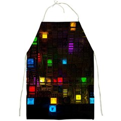 Abstract 3d Cg Digital Art Colors Cubes Square Shapes Pattern Dark Full Print Aprons