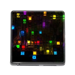 Abstract 3d Cg Digital Art Colors Cubes Square Shapes Pattern Dark Memory Card Reader (square)
