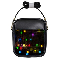 Abstract 3d Cg Digital Art Colors Cubes Square Shapes Pattern Dark Girls Sling Bags