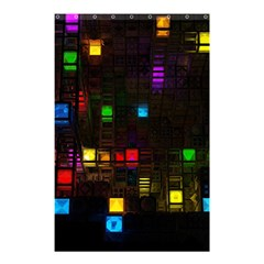 Abstract 3d Cg Digital Art Colors Cubes Square Shapes Pattern Dark Shower Curtain 48  x 72  (Small)