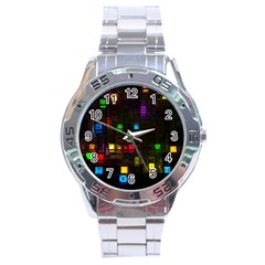 Abstract 3d Cg Digital Art Colors Cubes Square Shapes Pattern Dark Stainless Steel Analogue Watch