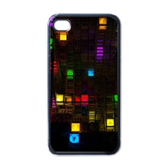 Abstract 3d Cg Digital Art Colors Cubes Square Shapes Pattern Dark Apple iPhone 4 Case (Black)