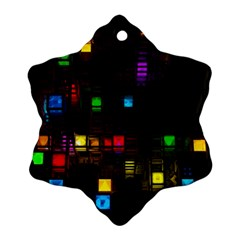 Abstract 3d Cg Digital Art Colors Cubes Square Shapes Pattern Dark Ornament (Snowflake)