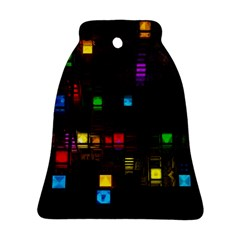 Abstract 3d Cg Digital Art Colors Cubes Square Shapes Pattern Dark Bell Ornament (Two Sides)