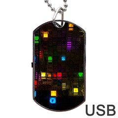 Abstract 3d Cg Digital Art Colors Cubes Square Shapes Pattern Dark Dog Tag USB Flash (Two Sides)