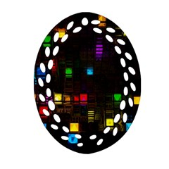 Abstract 3d Cg Digital Art Colors Cubes Square Shapes Pattern Dark Oval Filigree Ornament (Two Sides)