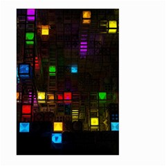 Abstract 3d Cg Digital Art Colors Cubes Square Shapes Pattern Dark Large Garden Flag (two Sides)