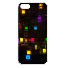 Abstract 3d Cg Digital Art Colors Cubes Square Shapes Pattern Dark Apple iPhone 5 Seamless Case (White)
